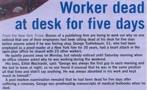 Workers Dead at Desk for 5 Days