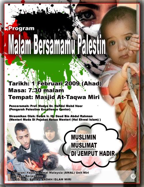 Poster Malam Bersamamu Palestin di Miri