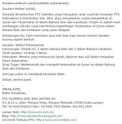 Terjemahan Al-Qur'an Bahasa Iban dan Bahasa Kadazan