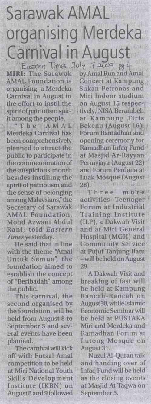 Akhbar Eastern Times, 17 July 2009