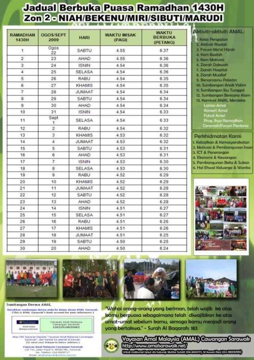 Jadual Berbuka Puasa 1430H Zon 2 Sarawak