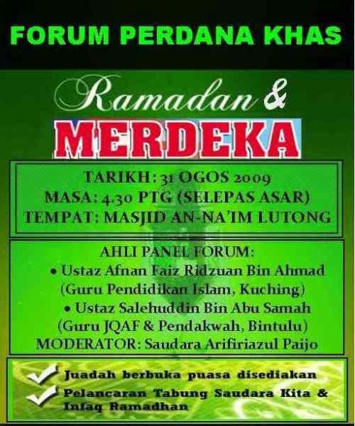 Poster Forum Ramadhan dan Merdeka 2009