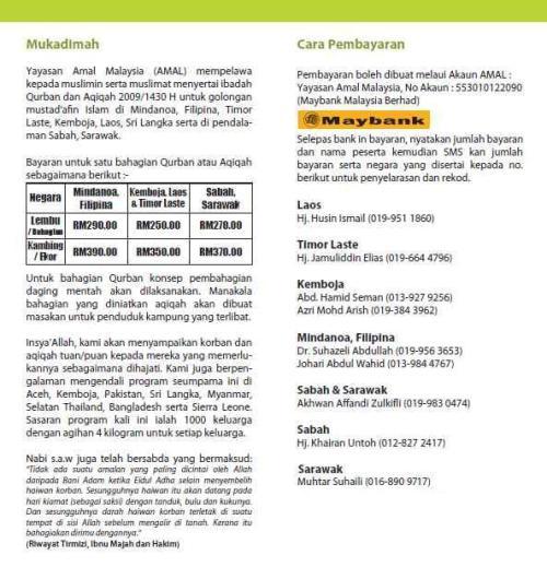 Program Qurban 1430H Yayasan AMAL Malaysia
