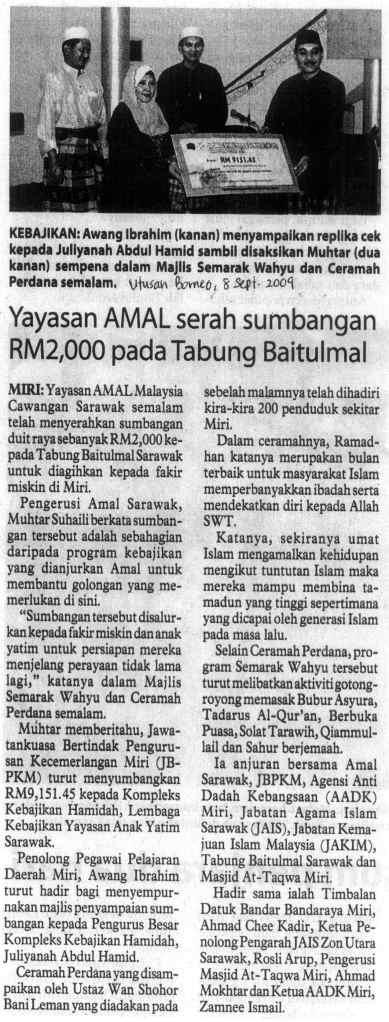 Laporan Semarak Wahyu @ Utusan Borneo, 8 Sept 2009