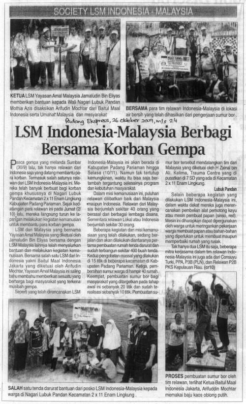 Kerjasama LSM Indonesia-Malaysia Membantu Mangsa Gempa