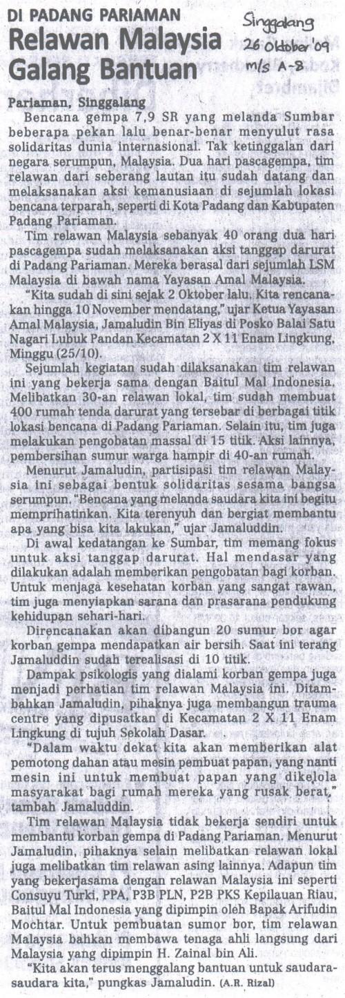 Relawan Malaysia Galang Bantuan